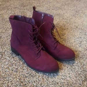 Maroon faux suede combat boots